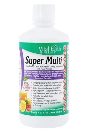Vital Earth - Minerals Super Multi High Potency Liquid Multi Vitamin Natural Passion Fruit Flavor - 32 oz.