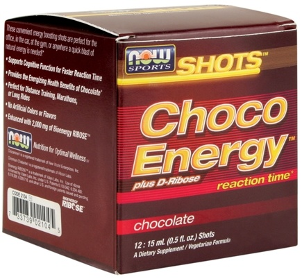 DROPPED: NOW Foods - Shots Choco Energy Plus D-Ribose 12 x .5 oz. Shots Chocolate