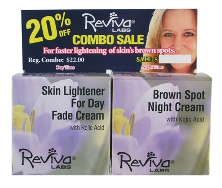 DROPPED: Reviva Labs - Skin Lightener For Day Fade Cream & Brown Spot Night Cream with Kojic Acid - 2 x 1.5 oz. Combo Pack