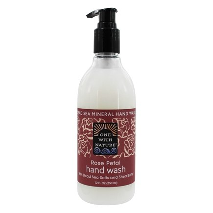 DROPPED: One With Nature - Dead Sea Mineral Hand Wash with Dead Sea Salts & Shea Butter Rose Petal - 12 oz. CLEARANCE PRICED