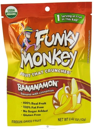 DROPPED: Funky Monkey Snacks - Freeze Dried Fruit Bananamon Banana with Cinnamon - 0.42 oz. CLEARANCE PRICED