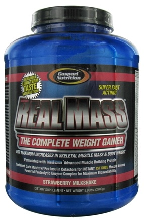 DROPPED: Gaspari Nutrition - Real Mass Complete Weight Gainer Strawberry Delight - 5.95 lbs. CLEARANCE PRICED