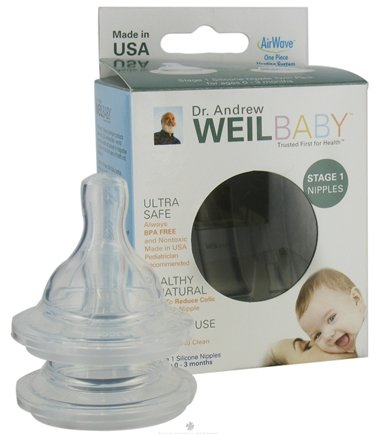 DROPPED: Weil Baby - Silicone Nipples With AirWave Venting System BPA Free Stage 1 (0-3 Months) - 2 Pack CLEARANCE PRICED