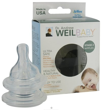 DROPPED: Weil Baby - Silicone Nipples With AirWave Venting System BPA Free  Stage 2 (3-6 Months) - 2 Pack