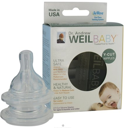 DROPPED: Weil Baby - Silicone Nipples With AirWave Venting System BPA Free Y-Cut - 2 Pack CLEARANCE PRICED