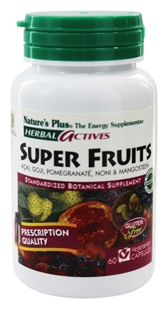 DROPPED: Nature's Plus - Herbal Actives Super Fruits Acai Goji Pomegranate Noni & Mangosteen - 60 Vegetarian Capsules