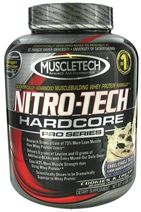 DROPPED: Muscletech Products - Nitro-Tech Hardcore Pro Series Cookies and Cream - 4 lbs. CLEARANCE PRICED