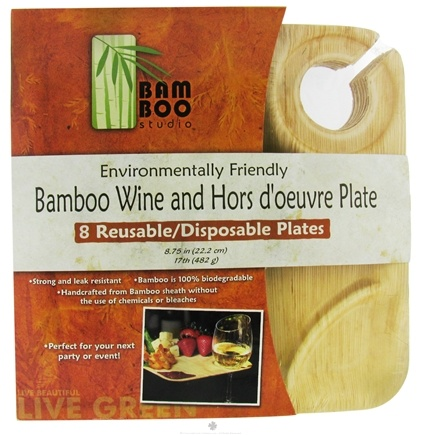 """DROPPED: Bamboo Studio - Bamboo Dinnerware Wine & Hors D'Oeuvre Square Plate 8.75"""" - 8 Pack"""