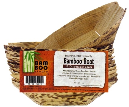 """DROPPED: Bamboo Studio - Bamboo Dinnerware Bamboo Boat Reusable Disposable 4.5"""" - 12 Pack CLEARANCE PRICED"""