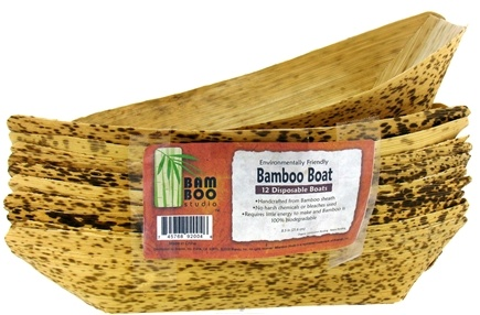 "DROPPED: Bamboo Studio - Bamboo Dinnerware Bamboo Boat Reusable Disposable 8.5"" - 12 Pack CLEARANCE PRICED"