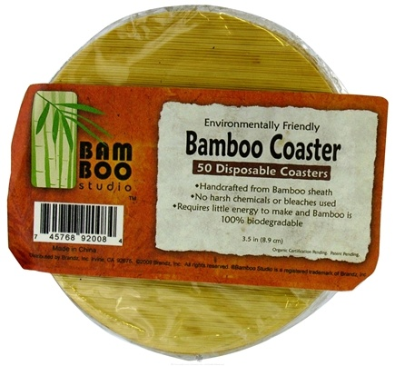 "DROPPED: Bamboo Studio - Bamboo Dinnerware Bamboo Coaster 1 Ply Reusable Disposable 3.5"" - 50 Pack CLEARANCE PRICED"