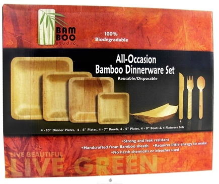 DROPPED: Bamboo Studio - Bamboo Dinnerware Set Reusable Disposable - 24 Piece(s) CLEARANCE PRICED