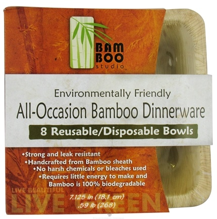 "DROPPED: Bamboo Studio - Bamboo Dinnerware Square Bowl Reusable Disposable 7.125"" - 8 Pack CLEARANCE PRICED"