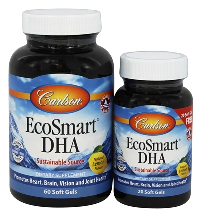 Carlson Labs - Norwegian EcoSmart DHA Lemon Flavored 500 mg. - Bonus Pack 60 + 20 Softgels Formerly CalaDHA from Calamari 1000 mg.