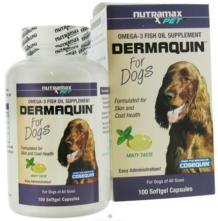 DROPPED: Nutramax Labs - Dermaquin Omega-3 Fish Oil Supplement for Dogs - 100 Softgels