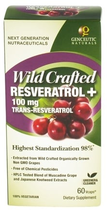 DROPPED: Genceutic Naturals - Wild Crafted Resveratrol 100 mg. - 60 Vegetarian Capsules CLEARANCE PRICED