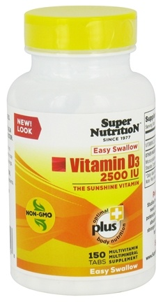 DROPPED: Super Nutrition - Vitamin D3 2500 IU - 150 Tablets CLEARANCE PRICED