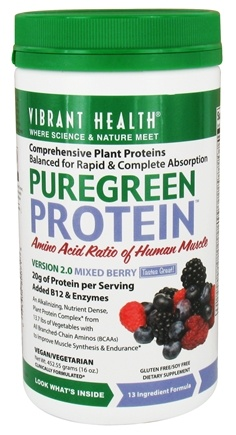 Vibrant Health - Pure Green Protein Powder Mixed Berry - 16 oz.