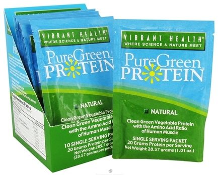 DROPPED: Vibrant Health - Pure Green Protein Powder Single Serving Packet Natural - 1.01 oz. CLEARANCE PRICED