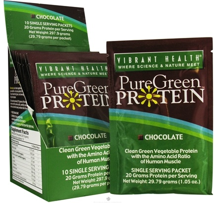 DROPPED: Vibrant Health - Pure Green Protein Powder Single Serving Packet Chocolate - 1.01 oz.