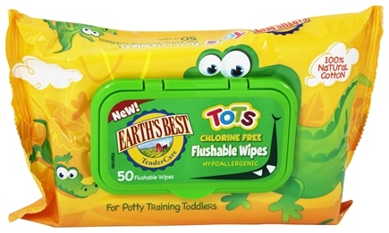 Earth's Best - TenderCare TOTS Chlorine Free Flushable Wipes - 50 Wipe(s)