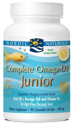 Nordic Naturals - Complete Omega-D3 Junior Lemon 500 mg. - 90 Chewable Softgels (formerly Omega-3.6.9-D Junior)