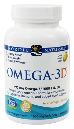 Nordic Naturals - Omega-3 D Formula Purified Fish Oil with Vitamin D Lemon 1000 mg. - 60 Softgels