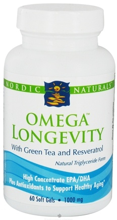 DROPPED: Nordic Naturals - Omega Longevity with Green Tea and Resveratrol 1000 mg. - 60 Softgels CLEARANCE PRICED
