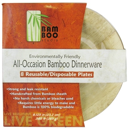 "DROPPED: Bamboo Studio - Bamboo Dinnerware Round Plate Reusable Disposable 9.125"" - 8 Pack CLEARANCE PRICED"