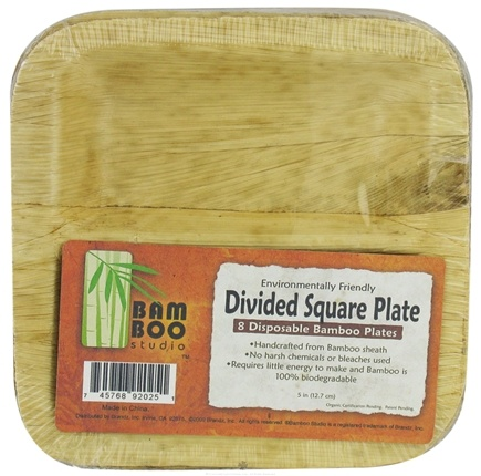 "Bamboo Studio - Bamboo Dinnerware Divided Square Plate Reusable Disposable 5"" - 8 Pack CLEARANCE PRICED"