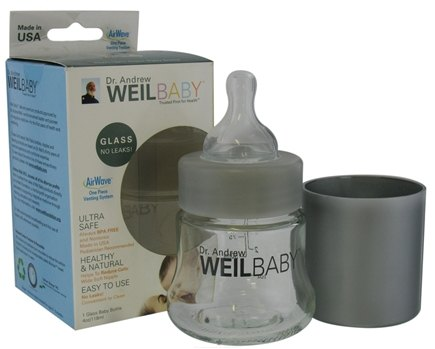 DROPPED: Weil Baby - Glass Nurser Bottle With AirWave Venting System & Stage 1 Nipple  BPA Free - 4 oz. CLEARANCE PRICED
