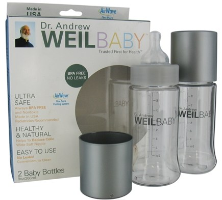 DROPPED: Weil Baby - Tritan Nurser Bottle With AirWave Venting System & Stage 1 Nipple BPA Free 9 oz. - 2 Pack CLEARANCE PRICED