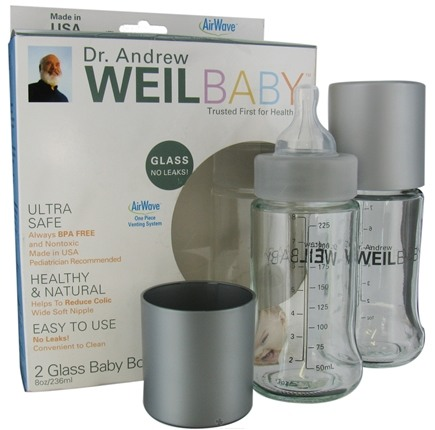 DROPPED: Weil Baby - Glass Nurser Bottle With AirWave Venting System & Stage 1 Nipple BPA Free 8 oz. - 2 Pack