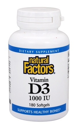 Natural Factors - Vitamin D3 1000 IU - 180 Softgels