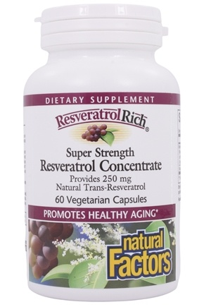 Natural Factors - ResveratrolRich Reservatrol Concentrate Super Strength 250 mg. - 60 Vegetarian Capsules
