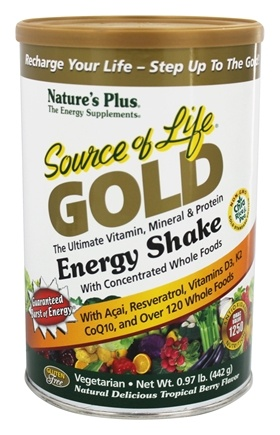 Nature's Plus - Source Of Life Gold Energy Shake Ultimate Vitamin Mineral & Protein Natural Delicious Tropical Berry Flavor - 0.97 lbs.