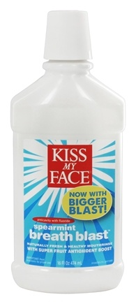 DROPPED: Kiss My Face - Breath Blast Mouthrinse Anticavity with Fluoride Spermint - 16 oz.