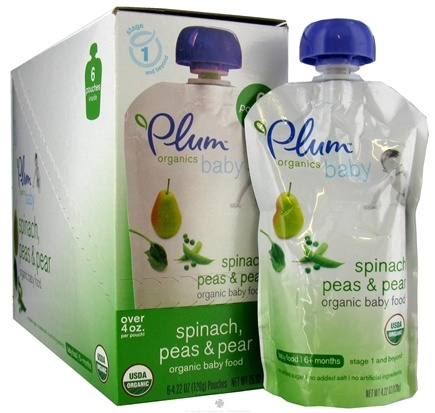 DROPPED: Plum Organics - Organic Baby Food Spinach Peas & Pear 6+ months - 4 oz. CLEARANCE PRICED
