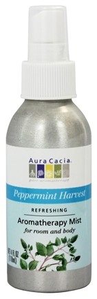 Aura Cacia - Aromatherapy Mist For Room and Body Refreshing Peppermint Harvest - 4 oz.