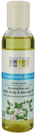 DROPPED: Aura Cacia - Aromatherapy Bath, Body & Massage Oil Refreshing Peppermint Harvest - 4 oz. CLEARANCE PRICED