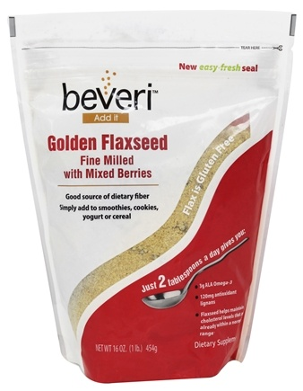 DROPPED: Beveri Nutrition - Golden Flaxseed Fine Milled with Mixed Berries - 16 oz. CLEARANCE PRICED