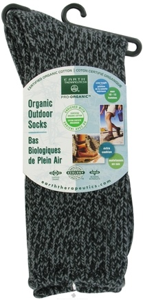 DROPPED: Earth Therapeutics - Organic Outdoor Socks Men's Size 10-13 Black - CLEARANCE PRICED