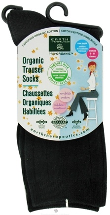 DROPPED: Earth Therapeutics - Organic Trouser Socks Women's Size 5-11 Black - CLEARANCE PRICED