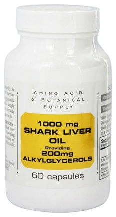 Amino Acid & Botanical - Shark Liver Oil providing 200mg Alkylglycerols 1000 mg. - 60 Capsules