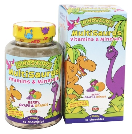 DROPPED: Kal - Dinosaurs MultiSaurus Vitamins & Minerals For Kids Berry, Grape & Orange - 60 Chewables