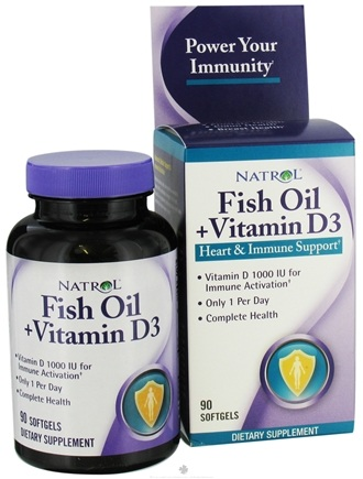 DROPPED: Natrol - Fish Oil + Vitamin D3 Heart & Immune Support 1000 IU - 90 Softgels CLEARANCE PRICED