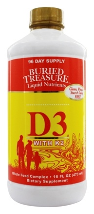 Buried Treasure Products - Liquid Vitamin D3 with K2 High Potency - 16 oz.