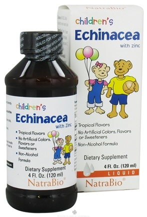 DROPPED: NatraBio - Children's Liquid Echinacea With Zinc Tropical Flavors - 4 oz. CLEARANCE PRICED