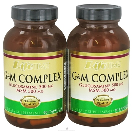 DROPPED: LifeTime Vitamins - G&M Complex Glucosamine 500 mg & MSM 500 mg (90+90) Twin Pack - 180 Capsules CLEARANCE PRICED