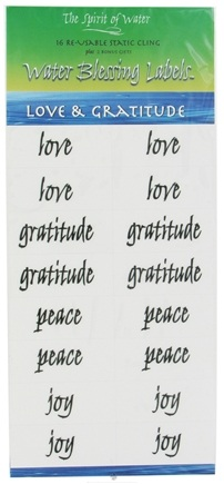 DROPPED: The Spirit of Water - Water Blessing Labels Love & Gratitude Collection - 16 Re-usable Labels - CLEARANCE PRICED